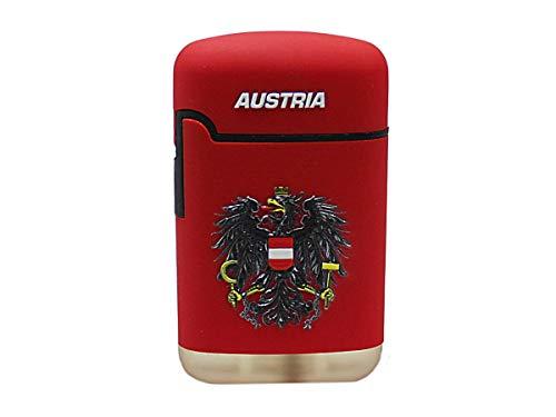 EASY TORCH8 Gasfeuerzeug Sturmfeuerzeug 3D-Bedruckt - 2er-Set Feuerzeug ROT gummierte Oberfläche mit 3D Effekt - Austria mit Staatsadler