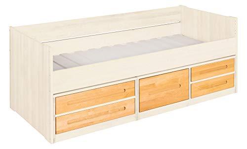 BioKinder Lina-slaapbank Stapelbed Functioneel bed met laden van massief elzenhout en grenenhout 90 x 200 cm, voor elzenhout