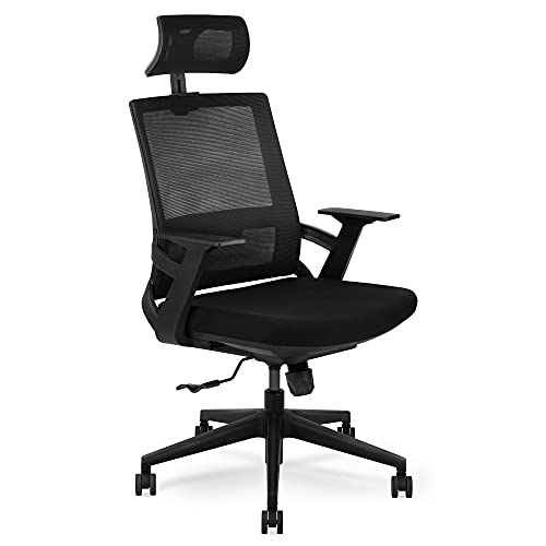 Simpol Home Ergonomic Swivel Office Home Computer Desk Chair, with High Back Lumbar Support, Breathable Mesh, Thick Cushion, Black, Adjustable Seat Height and Headrest