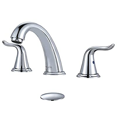 WOWOW 3 Hole Widespread Bathroom Faucet Chrome Bathroom Sink Faucets 2 Handle Bath Faucet 8 inch Vanity Faucet with Pop Up Drain Stopper Assembly Brass Mixer Taps for Bathroom Basin