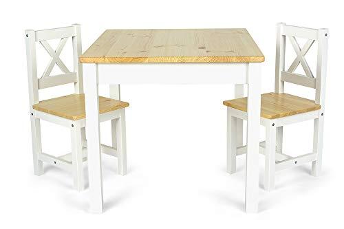 Leomark Tavolo e 2 sedie in legno - POLA - Set da cameretta per bambini in stile scandinavo (bianco/pino), Altezza: 53 cm