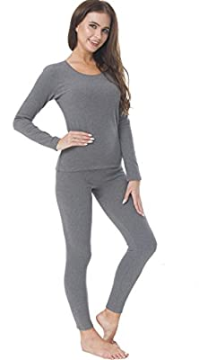 HieasyFit Women's Cotton Thermal Underwear Fleece Lined Winter Base Layer Set Dark Gray L by