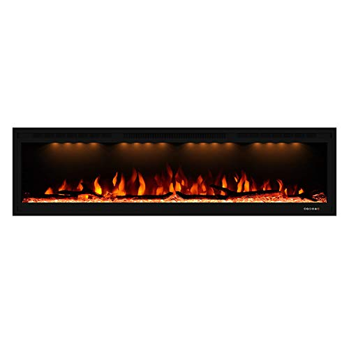 Valuxhome Electric Fireplace, 60 Inches Fireplace, Recessed and Wall Mounted Fireplaces for Living Room with Remote, Overheating Protection, Logset and Crystal, Touch Screen, 1500W/750W, Black