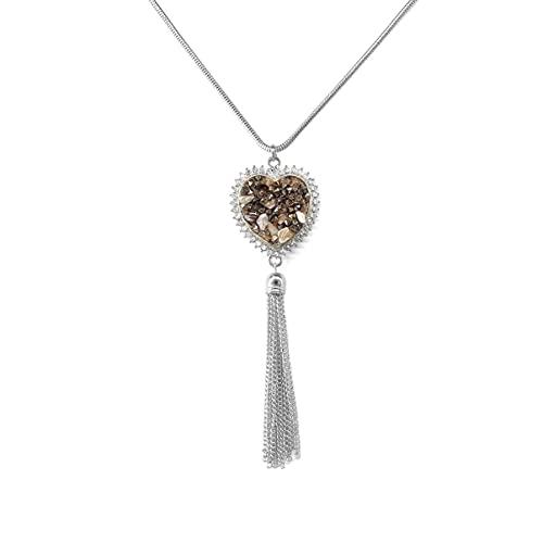 BigBigHundred Joyas Collar con colgante de aleación en forma de corazón de piedra triturada con diamantes para otoño e invierno Cadena de suéter con borlas largas - Plata