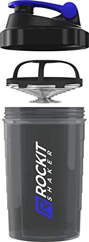 Rockitz Premium Protein Shaker 500ml - erstklassige Mischfunktion mit Infusion Sieb - für super cremige Fitness Eiweiß Shakes, Proteinshake Becher,Schwarz | Blau