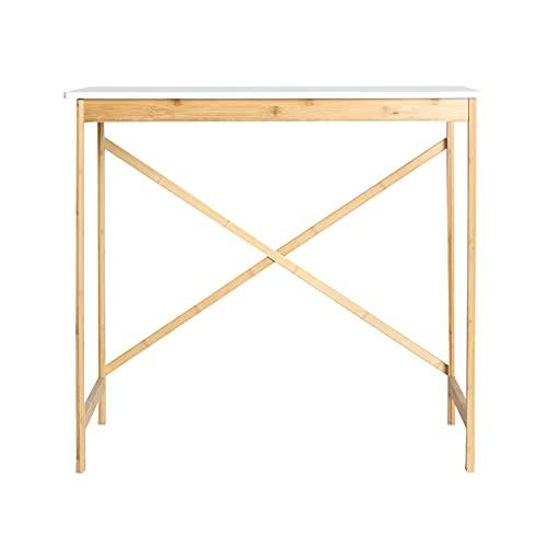 Lastdeco Mesa Escritorio de Bambu. Mesa de Escritorio para Ordenador y Trabajo...