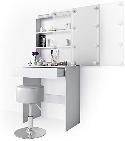 Vicco Schminktisch Melle Frisiertisch Kommode Frisierkommode Spiegel Weiß inklusive Hocker und LED-Lichterkette