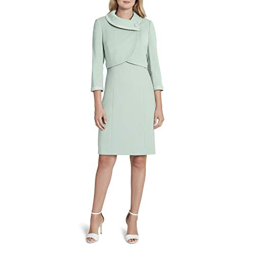 Tahari ASL Women's Wrap Pearl Trim Crop Jacket Dress Set Suit, Silver Sage, 18