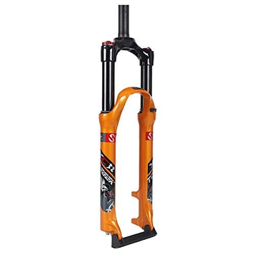 WYJW Horquilla Delantera de Bicicleta Aleación de Aluminio Ultraligera Control de Hombro Suspensión Presión de Aire Amortiguador de Bicicleta Ajuste de Rebote Tubo Recto: 100 mm, naranj