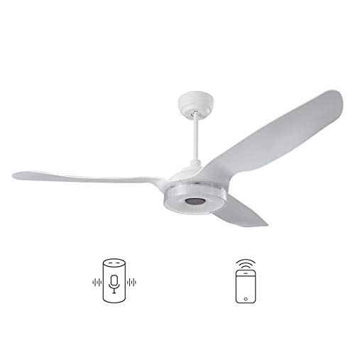 Carro Indoor/Outdoor Smart ceiling fan 56quot 3 Blade with remote control Works with Compatible with Alexa/Google Home/Siri Dimmable LED Light and 10speed DC Motor White