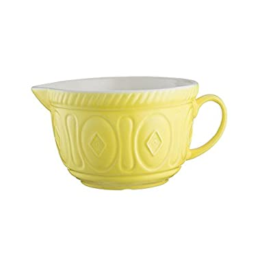 Mason Cash Color Mix Ceramic Batter Bowl; Large Enough to Whisk and Mix Ingredients; Pouring Lip and Handle; 8-Cups/Half Gallon; 10-1/4-Inches by 7-3/4-Inches by 5-Inches; Bright Yellow