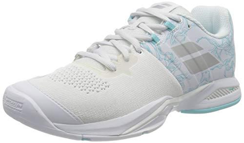 Babolat Damen Propulse Blast AC Women Tennisschuhe, White/Blue Stream, 38.5 EU