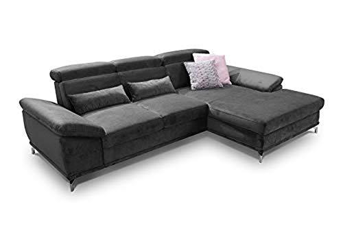 CAVADORE Ecksofa Capri / Sofaecke mit XL-Longchair rechts / Inkl. Sitztiefenverstellung & Kopfteilfunktion / 295 x 85-103 x 181 / Mikrofaser: Grau