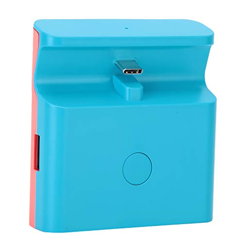 Ufolet Conversor de vídeo, suporte de carregamento para Switch/Lite Red Charging Dock Stand, mini base de carregamento para controles de jogos com fio (azul e vermelho)