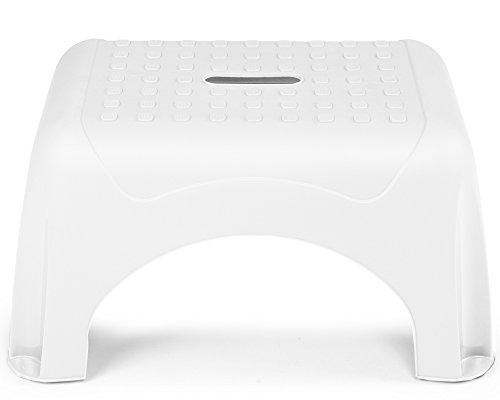 Ondis24 Tritthocker Waschbeckenhocker Step Stool mit bis zu 150 kg belastbar sehr sicherer Stand (Moon White)