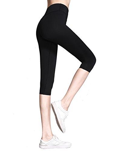 Everbellus Womens Workout Leggings High Waist Yoga Pants with Belt Pocket Black Medium