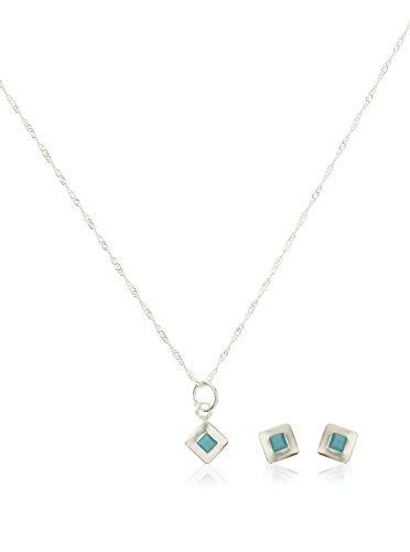 Córdoba Jewels | Conjunto de Gargantilla y Pendientes en Plata de Ley 925. Diseño Square Turquesa