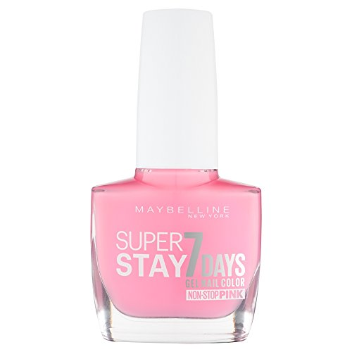 Maybelline New York Make-Up Superstay Nailpolish Forever Strong 7 Days Finish Gel Nagellack Flushed Pink / Non-Stop Pink Farblack mit ultra starkem Halt ohne UV Lampe in intensivem Rosa, 1 x 10 ml
