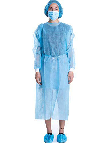 Disposable Isolation Gown Polypropylene Lab Gowns Knit Cuff Long Sleeve Blue 10 Pack