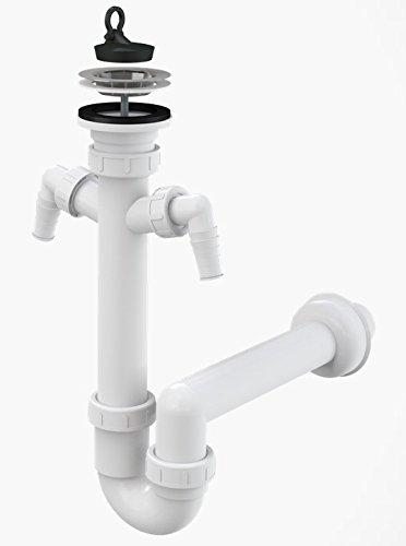 Spültisch Siphon Rostfreies Gitter DN 70 Anschlussrohr DN 40 Ablaufgarnitur mit zwei zusätzlichen Anschlüssen an Spülmaschine und Waschmaschine Ablauf Spülbecken Spüle Geruchsverschluss