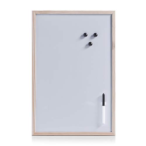 Zeller 11121 Tableau blanc aimanté avec cadre en bois, 60 x 40 cm