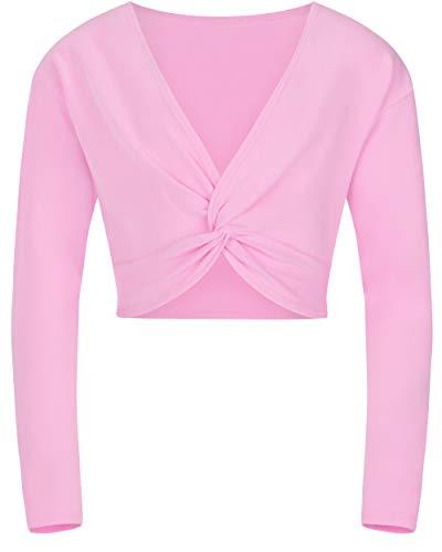 tanzmuster ® Ballettjacke Mädchen Langarm - Mia - aus sehr weichem Baumwollstoff Ballett Top zum Reinschlüpfen in rosa, Größe 128/134