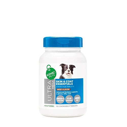 GNC Pets Ultra Mega Skin & Coat Essentials Chewable Tablets Dog Supplement, 60 Count - Beef Flavor | Supplement for Adult Dogs Supports a Glossy, Silky Coat