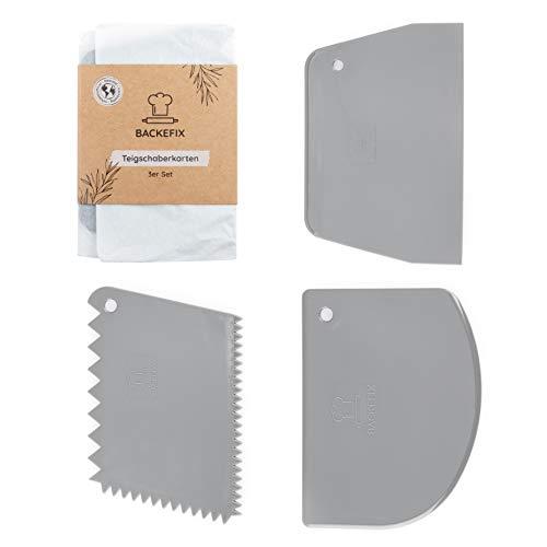 Backefix Teigschaber Profi Teigkarten Set Kunststoff – große Teigteiler zum auskratzen von Teigresten (3 Stück)