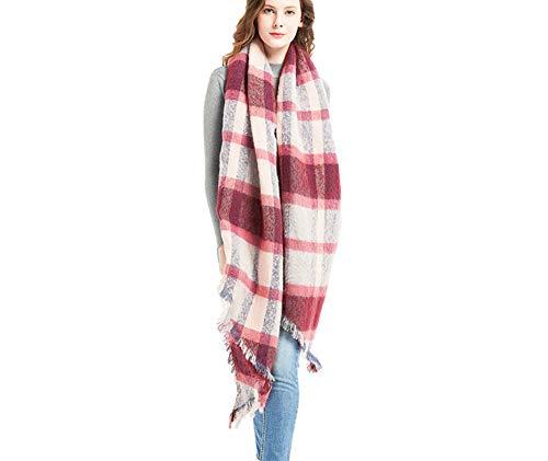 YUAYUAYUA Schal Damen Herbst Und Winter Abgeschrägtes Plaid Schal Dame Dickes Plaid Latzschal