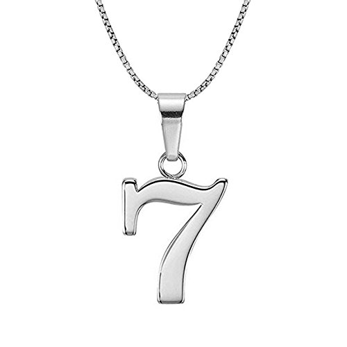 Lutilo 925 Sterling Silver Number 0-9 Charms Pendant Necklace with Chain (Seven)
