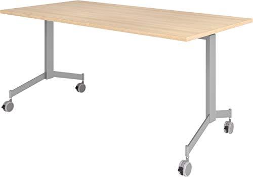 bümö Klapptisch fahrbar 160 x 80 cm - mobiler Konferenztisch klappbar & rollbar | Meetingtisch massiv mit Rollen (Eiche)