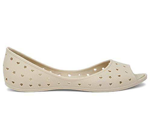 BATA Women's Hearts Peep Toe Ballet Flats