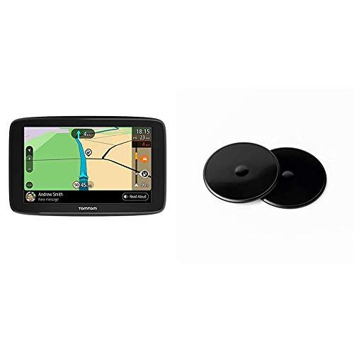 TomTom GPS para Coche GO Basic, 6 Pulgadas, con tráfico y Prueba de radares Gracias a Traffic + Discos Adhesivos de salpicadero de para Todos los Modelos