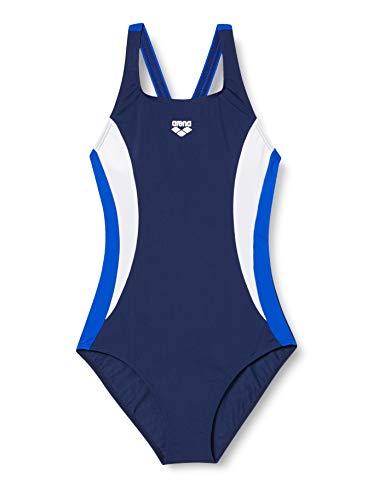 ARENA Double Side Panels Swim Pro - Bañador Deportivo para Mujer, Mujer, 003160, Navy/Neon Blue/White, 42