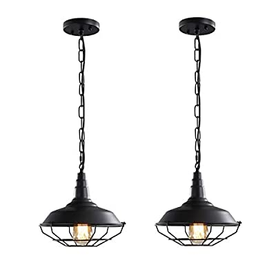 Black Farmhouse Pendant Light Fixtures, D10.3 Inches Vintage Industrial Hanging Lighting Retro Metal Wire Cage Pendant Lighting with Adjustable Chain for Kitchen Barn Bar Hallway, 2 Pack