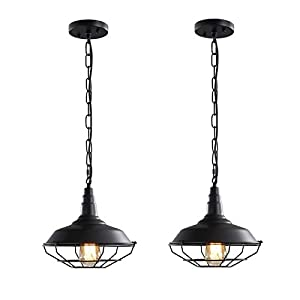 Farmhouse Pendant Light Fixtures, 2 Pack Vintage Industrial Pendant Lighting Black Metal Wire Cage Hanging Lighting with Adjustable Chain for Barn Kitchen Hallway Dining Room Stairwell…