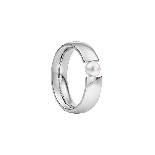 Heideman Ring Damen Globus aus Edelstahl Silber farbend poliert Damenring für Frauen mit Swarovski Perle Weiss oder farbig 5mm rund als Spannring Weiss Gr.55 hr2006-3-11-55
