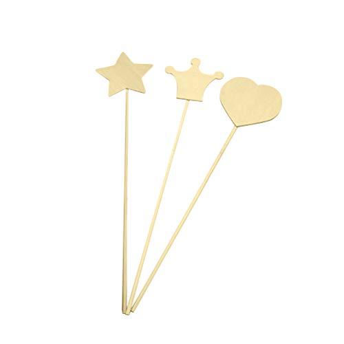 Toyvian Holz Handwerk Stick Zauberstab Handgemachtes Spielzeug Material DIY Handwerk Zubehör für Kinder 3 stücke (Zufällige Muster)