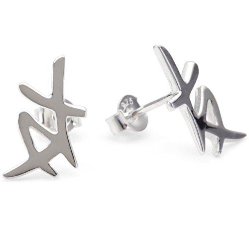 Vinani Ohrstecker chinesisches Zeichen Freundschaft glänzend Sterling Silber 925 Ohrringe OCF