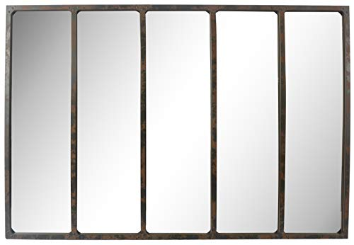 EMDE Miroir Industriel 5 Bandes à Rivets Effet rouillé - 137x90 cm