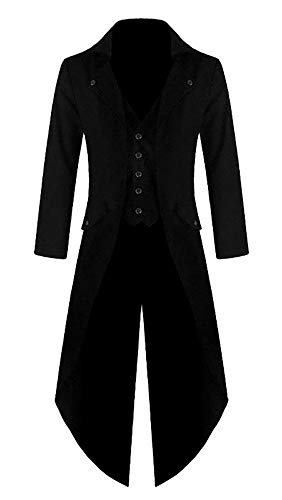Shujin Herren Vintage Frack Steampunk Gothic Jacke Viktorianischen Langer Mantel Fasching Karneval...