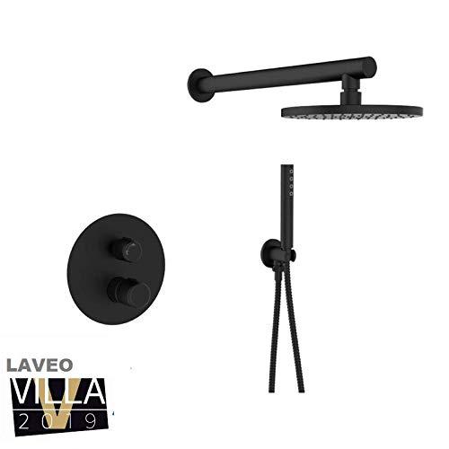 Laveo-Pretto - inbouw douchekop met set zwart wandsysteem BAO 701P