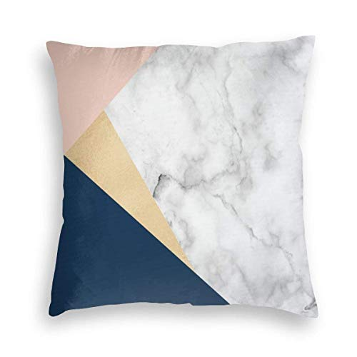 Elegant White Marble Gold Peach Blue Color Block Velvet Soft Decorative Square Throw Pillow Covers Cushion Case Pillowcases for Sofa Chair Bedroom Car 18X18inch