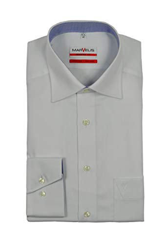 Michaelax-Fashion-Trade - Chemise business - Uni - Col Chemise Italien - Manches Longues - Homme - Blanc - taille col: 40