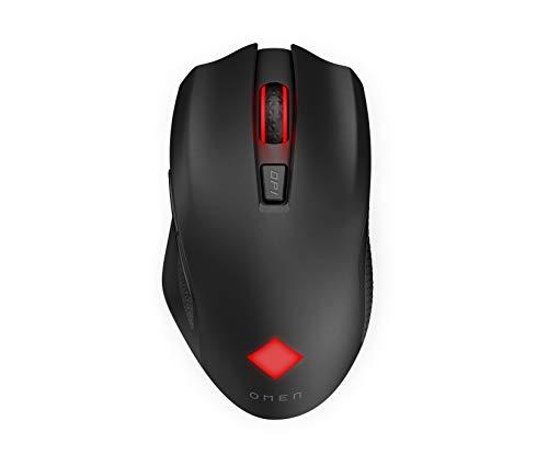 HP - Gaming OMEN Vector Mouse Wirelles, 6 Tasti Programmabili, DPI 100 a 16.000 con sensore ottico PixArt PAW3335, Tempo Risposta 1 ms, LED Personalizzabili, Rotella Scorrimento, Ergonomico, Nero