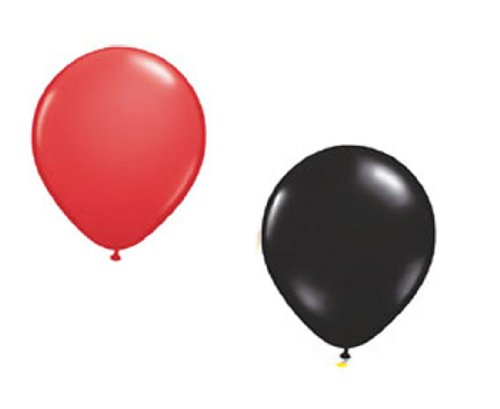 50 Luftballons je 25 x rot & schwarz Partyballons 27 cm Ø