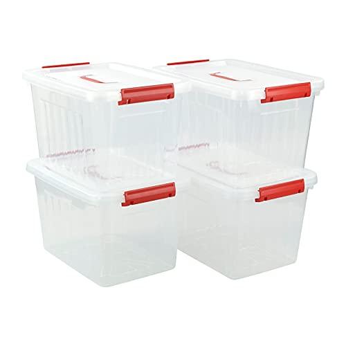 Qqbine Recipientes de plástico con tapa grande con asas rojas, 13 litros, 4 paquetes