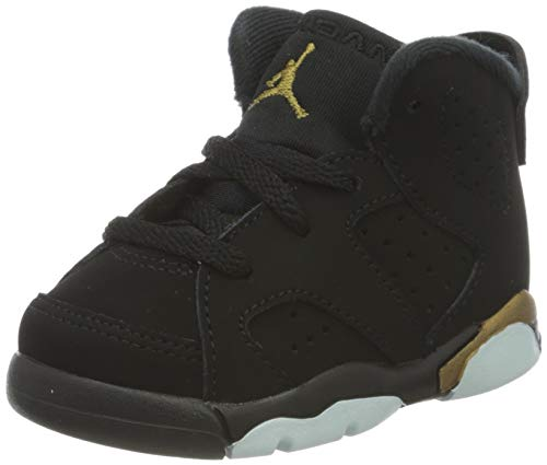 Nike Jordan 6 Retro Basketballschuh, Black Metallic Gold Black, 19.5 EU