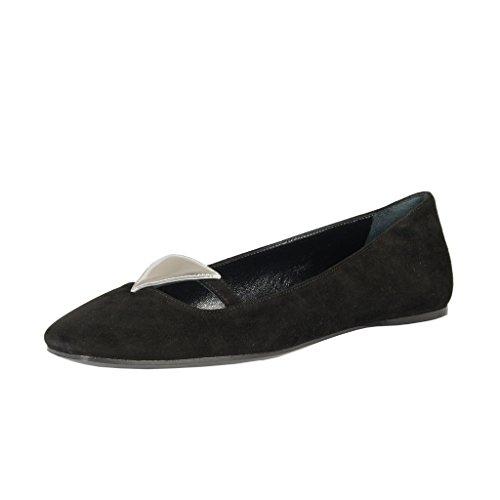 Prada Women's Black Suede Leather Ballet Flats Shoes US 6 IT 36;