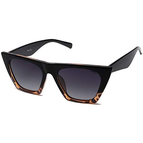 SOJOS Gafas De Sol Ojos de Gato Retro Polarizado Moderno Para Mujer SJ2115 Bella Con Marco Negro&Carey/Lente Gris Gradiente